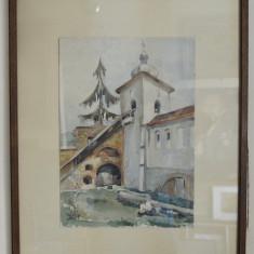 ACUARELA PEISAJ CU BISERICA NESEMNAT 28 x 40 CM. - Pictor roman, Peisaje, Ulei, Realism