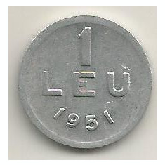 ROMANIA 1 LEU 1951 [12] livrare in cartonas - Moneda Romania, Aluminiu