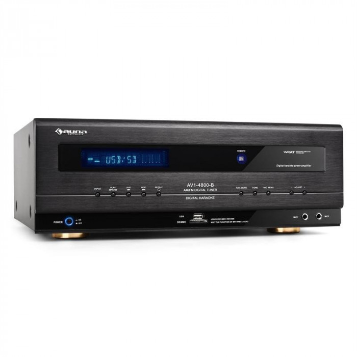 Auna HiFi Receiver USB SD MP3 Surround Amplificator 390W RMS foto mare
