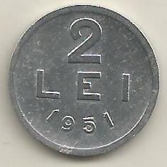 ROMANIA RPR 2 LEI 1951 [6] livrare in cartonas - Moneda Romania, Aluminiu