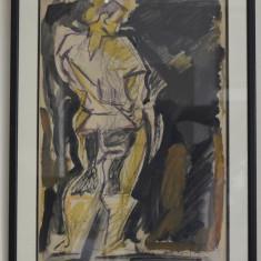 EVA CERBU TEHNICA MIXTA 30/44 CM. NUD SEMNAT DREAPTA JOS - Pictor roman, Guasa, Abstract