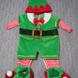 Costum salopeta Bebe Elf spiridus Craciun