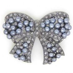Brosa Pearl Bow by Borealy - Brosa placate cu aur