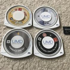 Pachet 4 Jocuri PSP GTA, FIFA, Formula1, etc + card de memorie pro duo salvari