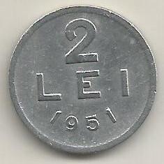 ROMANIA RPR 2 LEI 1951 [9] livrare in cartonas - Moneda Romania, Aluminiu