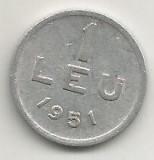 ROMANIA   1  LEU  1951  [13]    livrare  in  cartonas, Aluminiu