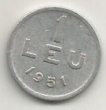 ROMANIA   1  LEU  1951  [13]    livrare  in  cartonas
