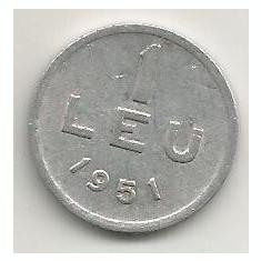 ROMANIA 1 LEU 1951 [13] livrare in cartonas - Moneda Romania, Aluminiu