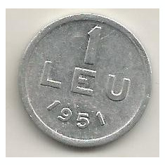ROMANIA 1 LEU 1951 [6] livrare in cartonas - Moneda Romania, Aluminiu