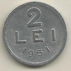 ROMANIA RPR 2 LEI 1951 [7] livrare in cartonas - Moneda Romania, Aluminiu