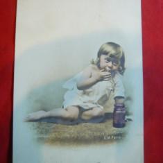 Ilustrata - Piesa clasica circ. 5 bani Spic de Grau cca 1906- Copil la borcan