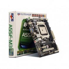 Kit Placa de baza ECS A55F-M3 Socket FM1 DDR3 + Procesor AMD A4-3300 2.5GHz, Pentru AMD, Contine procesor, MicroATX