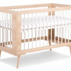 Patut Copii din Lemn Klups Sofie Alb-Natur+Saltea 10cm - Patut lemn pentru bebelusi