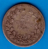 (A47) MONEDA DIN ARGINT OLANDA - 25 CENTS 1849, WILLEM II, Europa