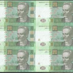 UCRAINA 20 HRIVNE 2016 UNC 6 buc COALA NETAIATA Semnatura VALERIYA HONTAREVA - bancnota europa