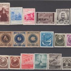Romania 1900-1950 Lot timbre Nestampilate urme de sarniera (  4 ), Regi, Nestampilat