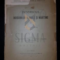 I. G. VIDRASCU (INGINER), ISTORICUL INDIGUIRILOR FLUVIALE SI MARITIME, BUCURESTI, 1911 - Carte de colectie