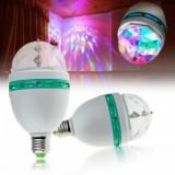 Bec rotativ disco Full Color LED mini party consum 3W Soclu e27, Becuri LED, Rece (4100 - 4999 K)