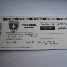 Bilet de meci FC Voluntari - CFR Cluj (17 decembrie 2016) - Bilet meci