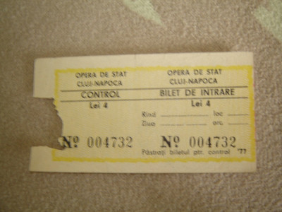 Bilet Opera de Stat Cluj-Napoca 1977 foto