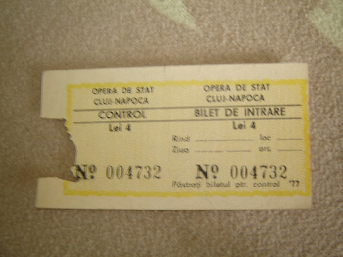 Bilet Opera de Stat Cluj-Napoca 1977