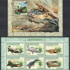 MOZAMBIC 2007 - CROCODILI - KLB+BLOC NESTAMPILAT - MNH / reptile69