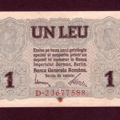 1 LEU 1917 APROAPE NECIRCULATA . BANCA GENERALA ROMANA . OCUPATIA GERMANA BGR - Bancnota romaneasca