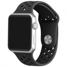 Curea pentru Apple Watch 42 mm Silicon Sport iUni Black - Curea ceas cauciuc
