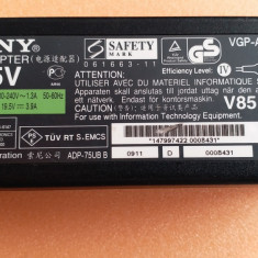 65.Alimentator Incarcator Laptop Sony 19.5V 3.9A 75W VGP-AC19V20, Incarcator standard