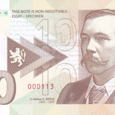 Bancnota Scotia 10 Pounds 2017 - SPECIMEN ( hartie cu filigran - A.Conan Doyle ) - bancnota europa