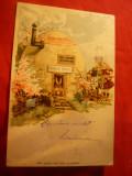 Ilustrata-Litografie-Felicitare de Paste-Casuta OU a Iepurasului si Copii ,1901, Circulata, Printata