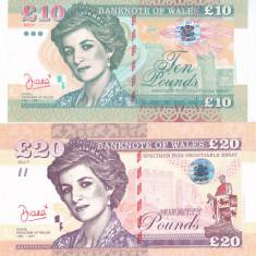 Bancnota Tara Galilor ( Wales ) 10 + 20 Pounds 2017 - SPECIMEN( Printesa Diana ) - bancnota europa