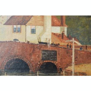 CG Hall Peisaj cu pod pictura veche ulei 1888
