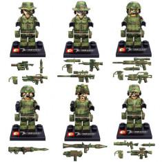 Set 6 minifigurine tip LEGO Armata, soldati comando, include arme tip Brickarms - Figurina Desene animate