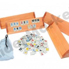 Set Joc Rummy Remi cu placi din lemn masiv 43cm - Jocuri Logica si inteligenta