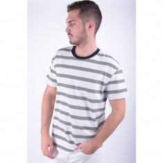 Tricou Barbati Jack&Jones Jorscar Tee Ss Crew Neck Regular Cloud Dancer Stripe / Black, Marime: L, Culoare: Alb