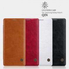 Husa Samsung Galaxy Note 8 Qin Leather Red by Nillkin - Husa Telefon Samsung, Rosu, Piele Ecologica, Cu clapeta, Toc