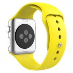 Curea pentru Apple Watch 38 mm Silicon iUni Yellow - Curea ceas cauciuc