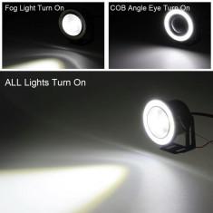 Proiectoare auto LED cu angel eyes 76mm