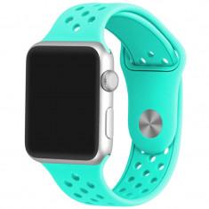 Curea pentru Apple Watch 42 mm Silicon Sport iUni Light Blue - Curea ceas cauciuc