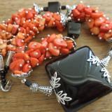 Colier onix negru, coral portocaliu si corailles
