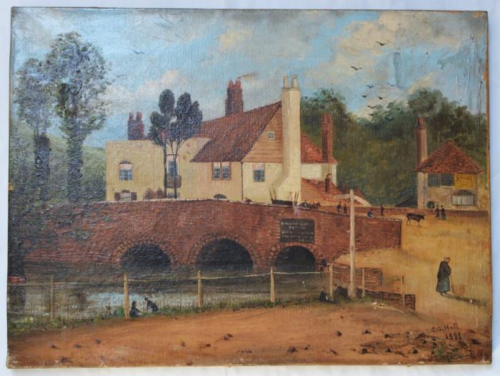 "CG Hall ""Peisaj cu pod"" pictura veche ulei 1888"