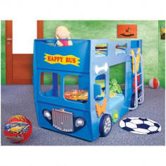 Patut in forma de masina Happy Bus - Plastiko - Albastru - Pat tematic pentru copii