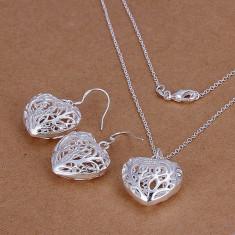 Lant si cercei inimioare set bijuterii placat argint 925 - Set bijuterii argint