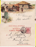 Tipuri- Port national roman  -Casa la tara- litografie, rara, Circulata, Printata