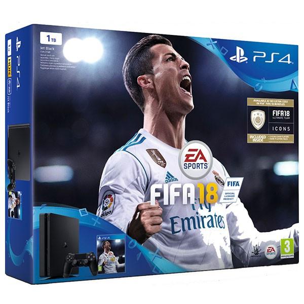 Consola SONY PlayStation 4 Slim 1 TB, negru + FIFA 18 foto mare