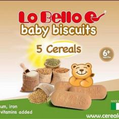Biscuiti bebelusi Lo Bello cu 5 cereale, calciu si fier, de la 6 luni