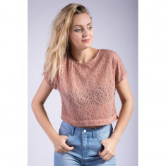 Maieu Only Onllavish Ss Cropped Top Mocha Mousse - Tricou dama Only, Marime: S, Culoare: Maro