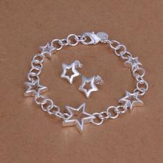 Bratara si cercei stelute set bijuterii placat argint 925 - Set bijuterii argint