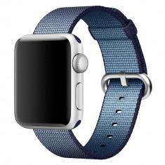Curea pentru Apple Watch 38 mm iUni Woven Strap, Nylon, Midnight Blue - Curea ceas cauciuc